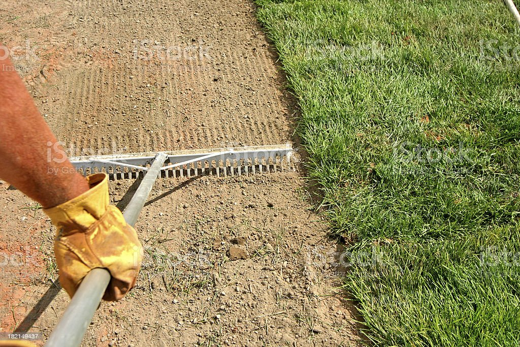 Landscaper - Laying Sod / Grass royalty-free stock photo