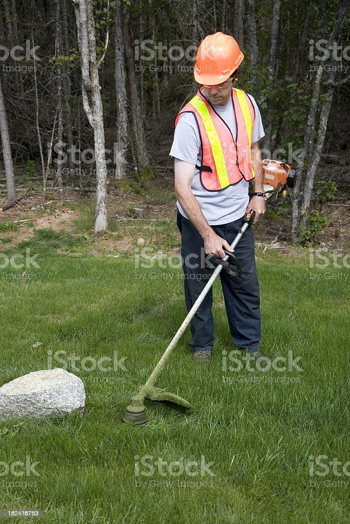 Landscaper Mows Trims Grass Wearing Safety Equipment royalty-free stock photo