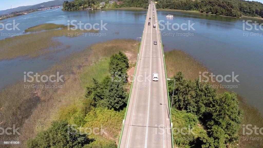 Landscape,rivers and bridge in Chile foto de stock royalty-free