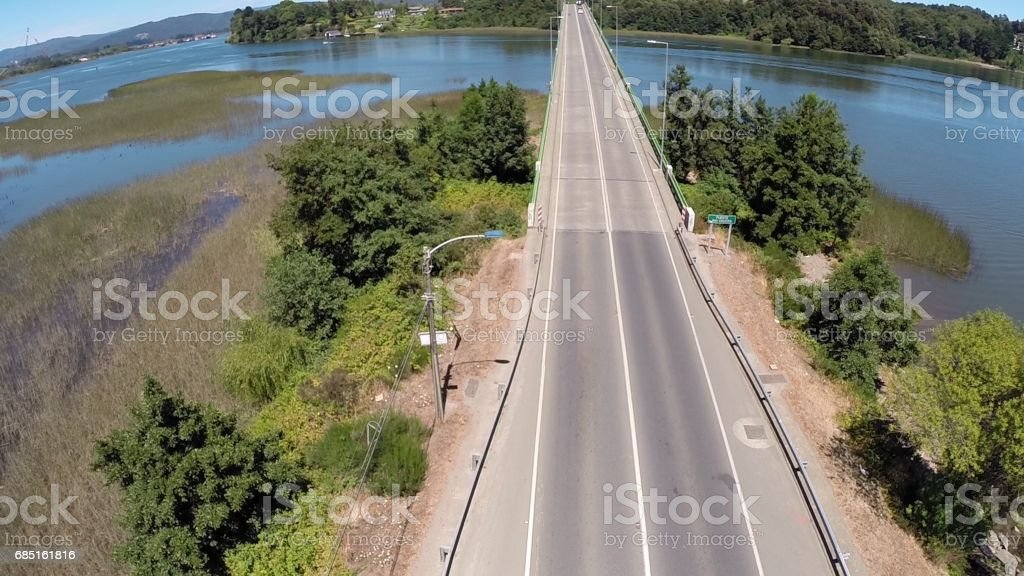Landscape,rivers and bridge in Chile foto de stock royalty-free