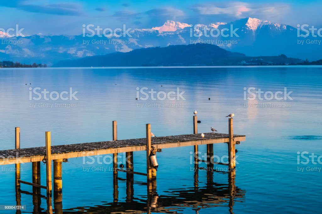 Landscapes along the shores of the Upper Zurich Lake, Rapperswil-Jona, Sankt Gallen, Switzerland stock photo