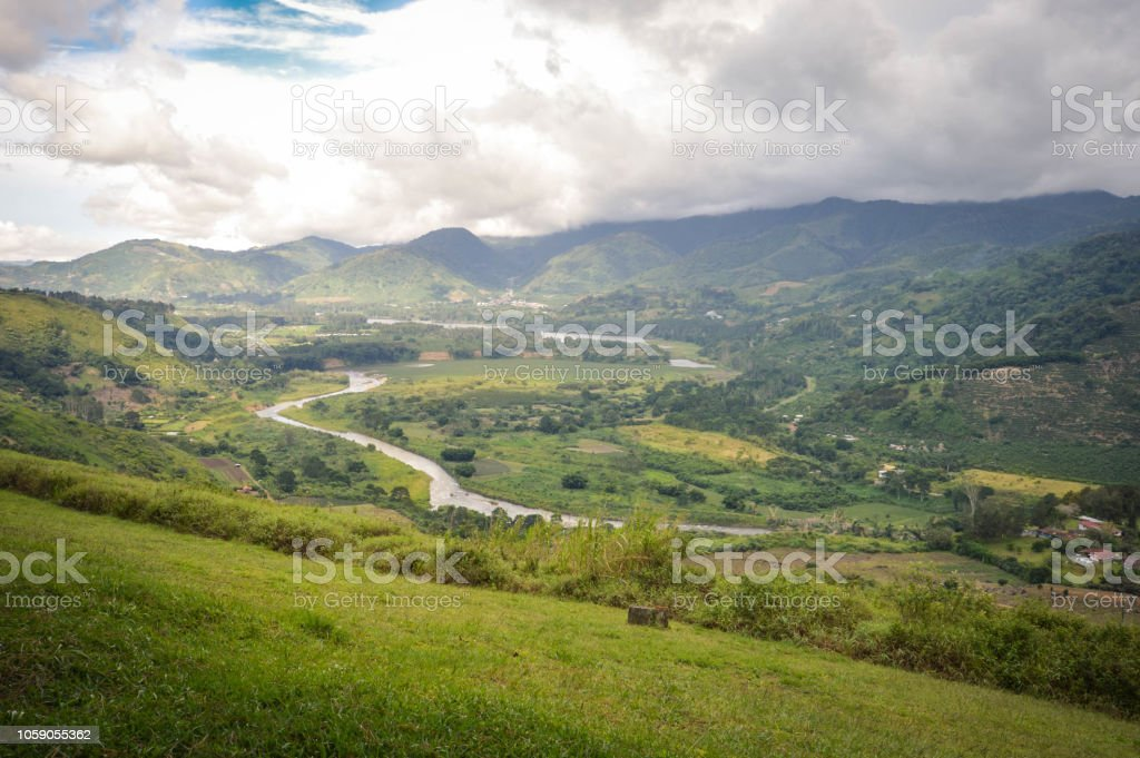Landscapes around Orosi Valley near the city of Cartago, Costa Rica. The place is good for visiting on a day trip from San Jose stock photo