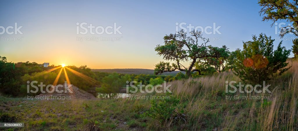 landscapes around willow city loop texas at sunset stock photo