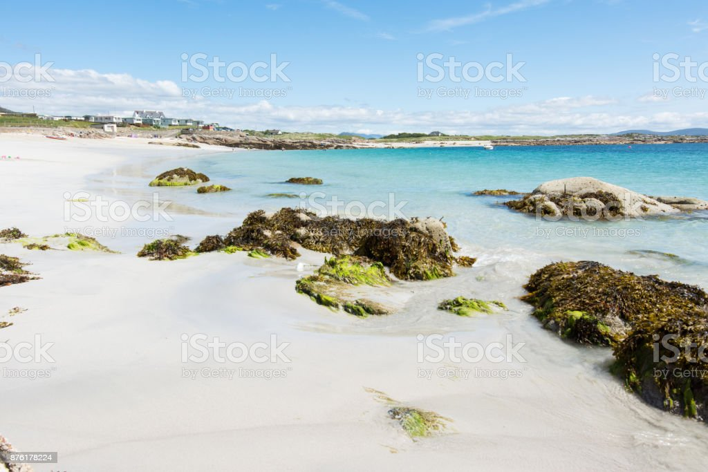 Landscapes of Ireland. White sand of roundstone, Connemara in Galway...