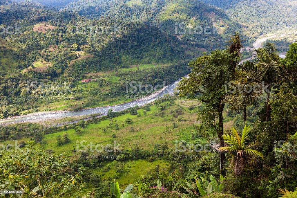 Landscapes of the Andean Choco stock photo