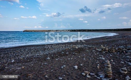 Pebble beach on the Mediterranean coast on the Akamas Peninsula on the island of Cyprus.