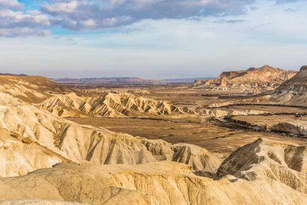 Landscapes of the Negev desert Not a high mountain on a rocky plateau in the Negev desert picturesque look at the background of an evening cloudy sky. negev stock pictures, royalty-free photos & images