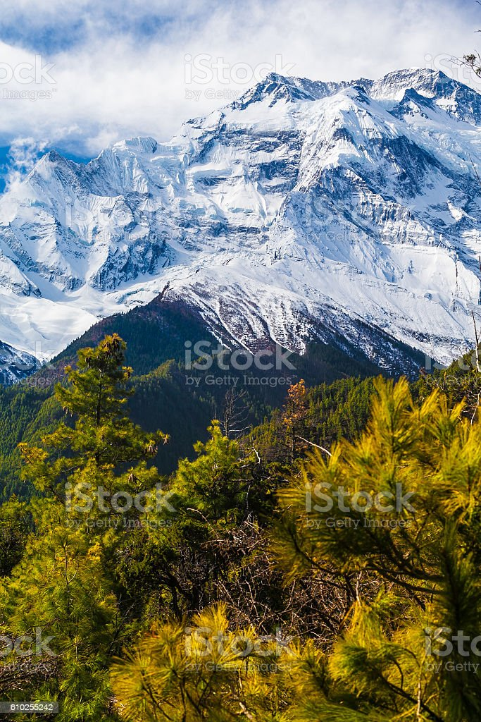 Landscapes Snow Mountains Nature Morning Viewpoint.Mountain Trekking Landscape Background стоковое фото