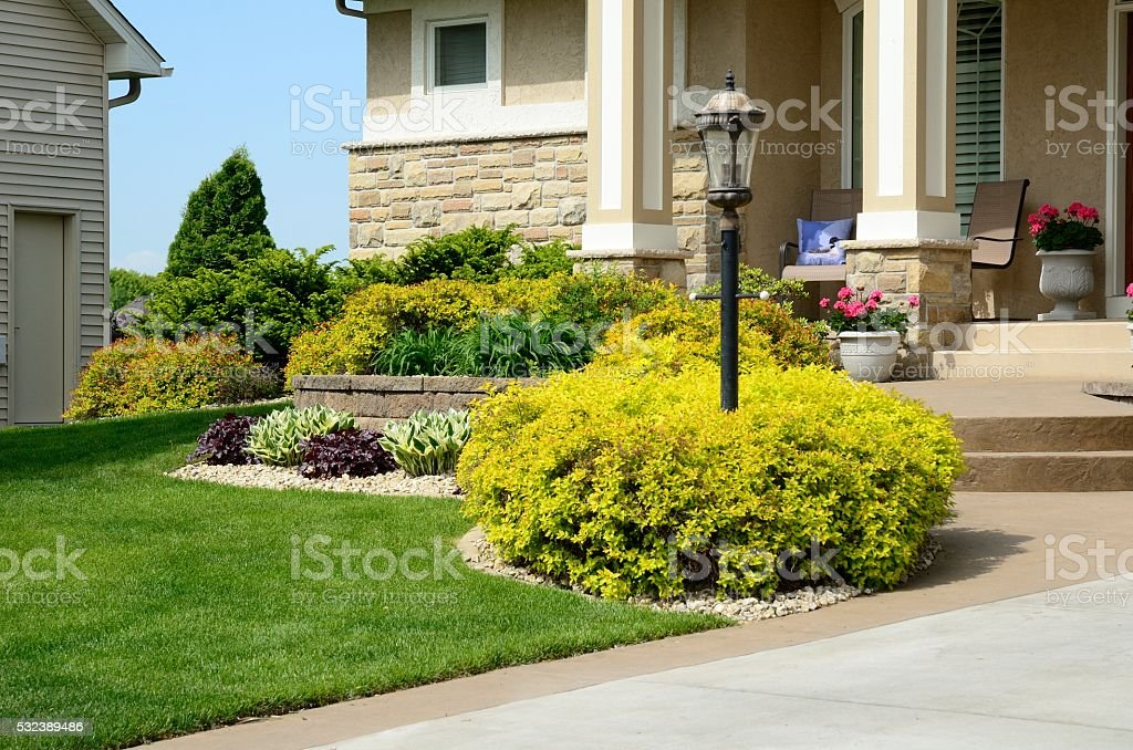 Landscaping and Retaining Wall stock photo