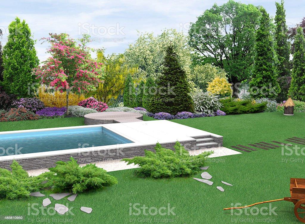 Paesaggio paese giardino pianta gruppi, render 3D - foto stock