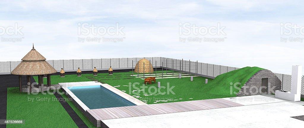 Paysage Pays Style Au Bord De La Piscine Et De La Terrasse Rendu 3d
