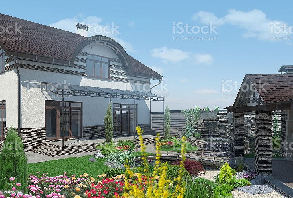 Landschaftsgestaltung Unterhaltung backyard, 3D render – Foto