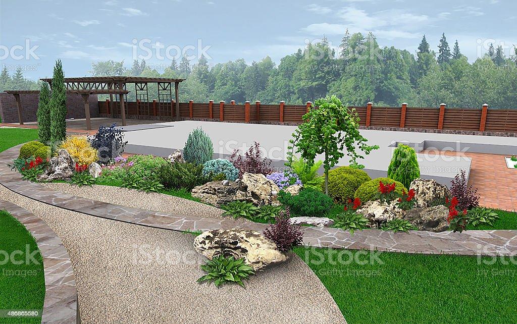 Décoration De Jardin Paysager Par Exemple Rendu 3d – Photos ...