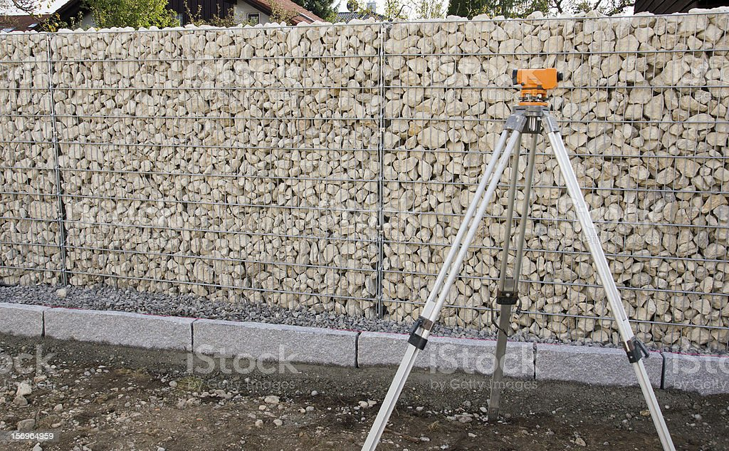 Landscaping Gabion Wall stock photo
