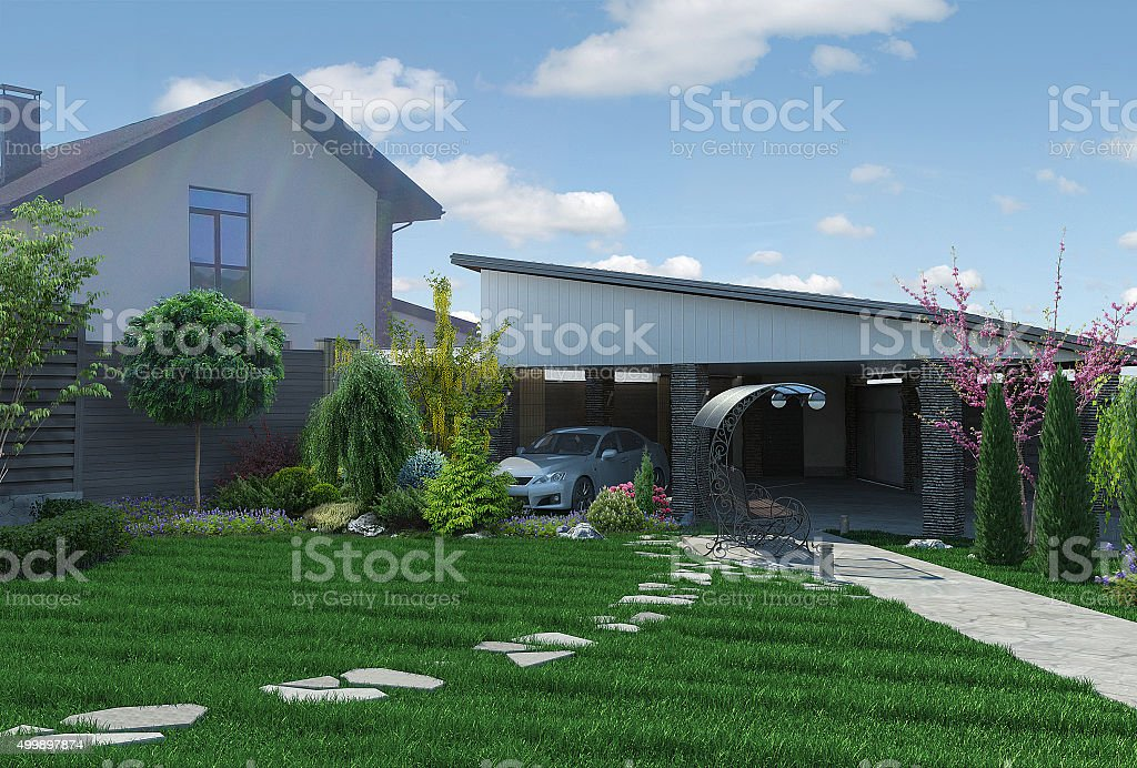 Paisaje de panorama 3D render, vista al jardín - foto de stock