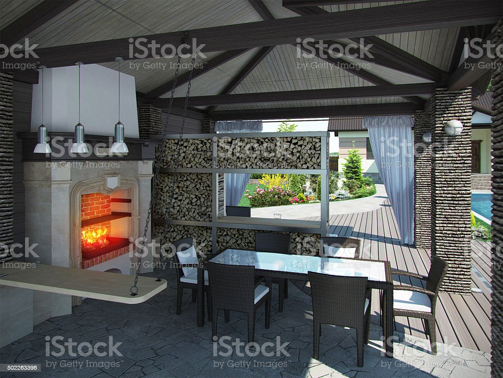 Landscaping gazebo interior, 3D render stock photo