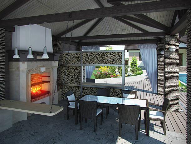 garten-pavillon, 3d render innenraum - grillstein stock-fotos und bilder