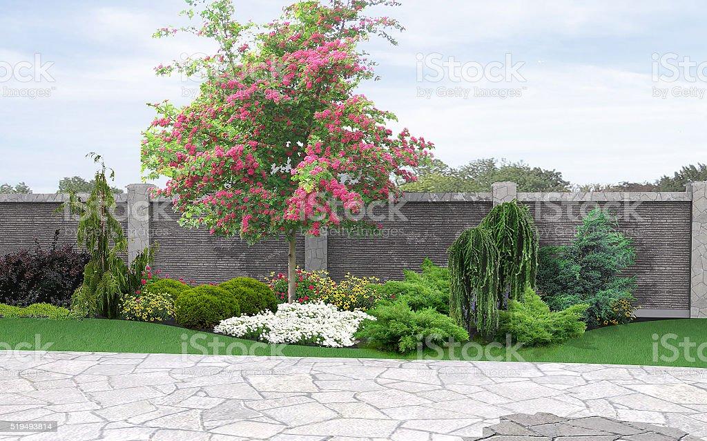 Landschaft-Garten-Hintergrund, 3d-Abbildung – Foto