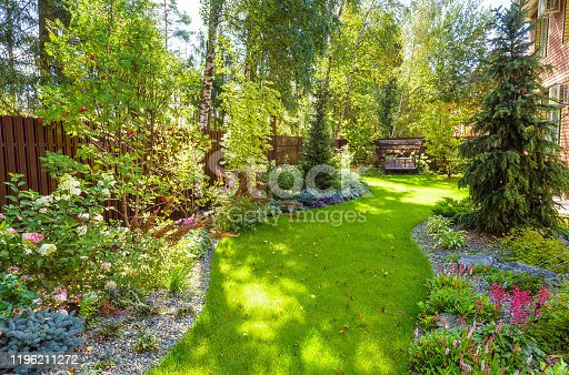 istock Landscaping in green home garden. Landscape design with plants and flowers at residential house. Scenic view of nice landscaped garden in backyard. 1196211272