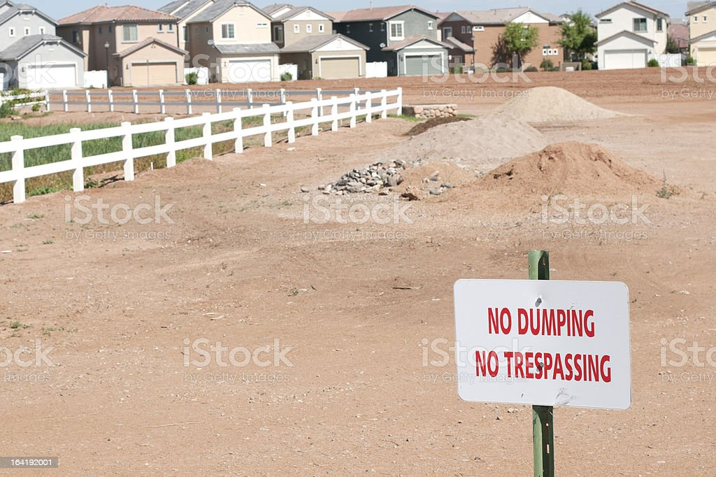 Landscaping material in housing development royalty-free stock photo
