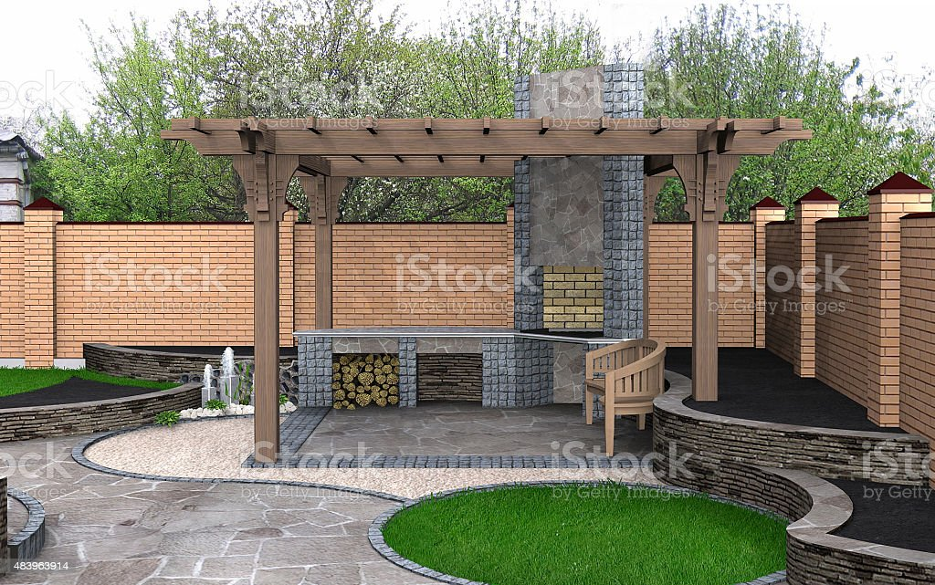 Landscaping View of the pergola recreation space, 3D Render stock photo