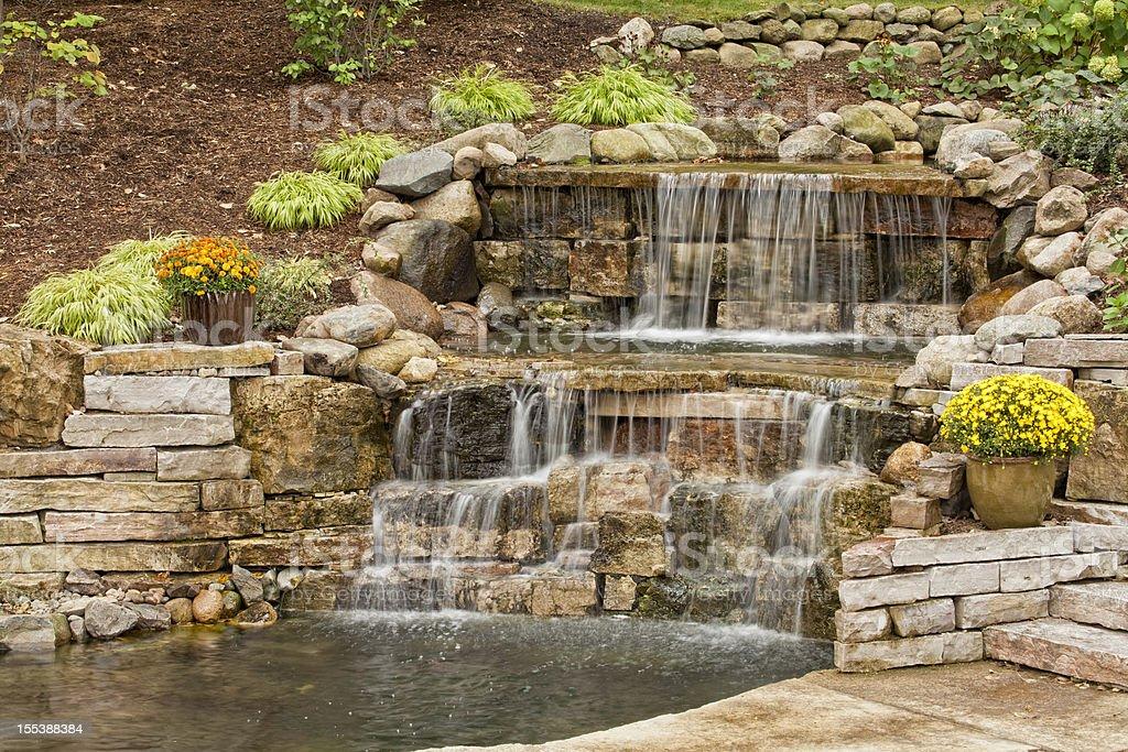 Landscaping Waterfall stock photo