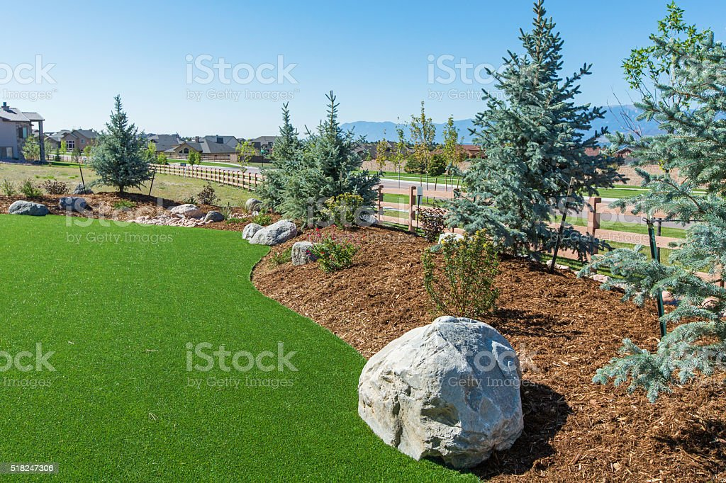 Landscaping with Artificial turf stock photo