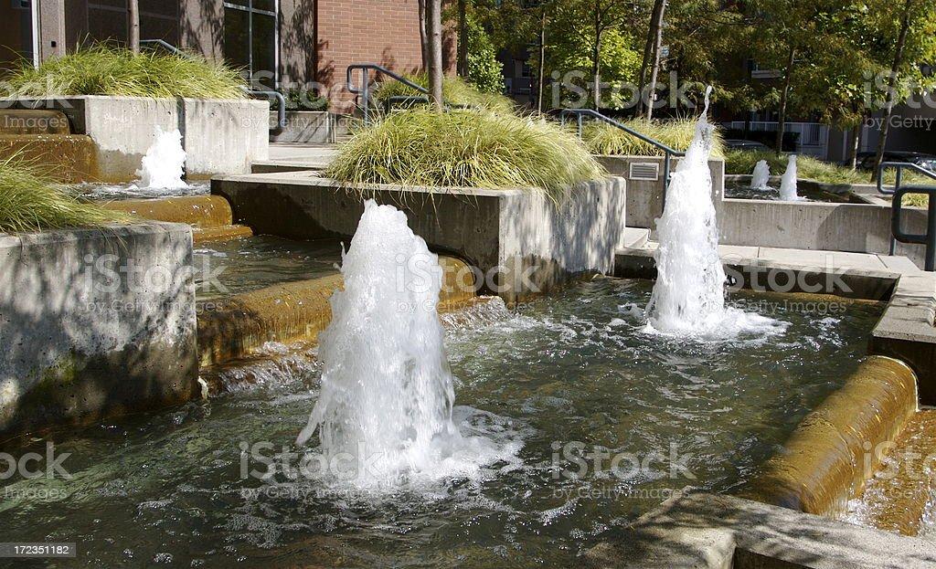 Jardines paisajísticos con fuentes públicas foto de stock libre de derechos