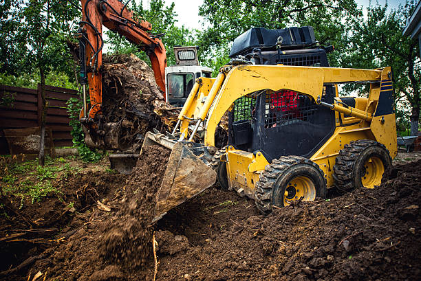 Landscaping works with bulldozer and excavator at home construction site Landscaping works with bulldozer and excavator at home construction site archaeology stock pictures, royalty-free photos & images