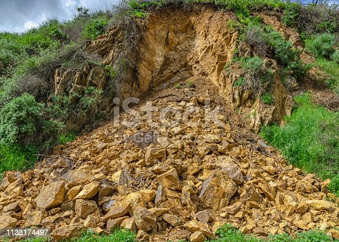 Landslide along fire road in Runyon Canyon due to heavy rains, Los Angeles, CA.