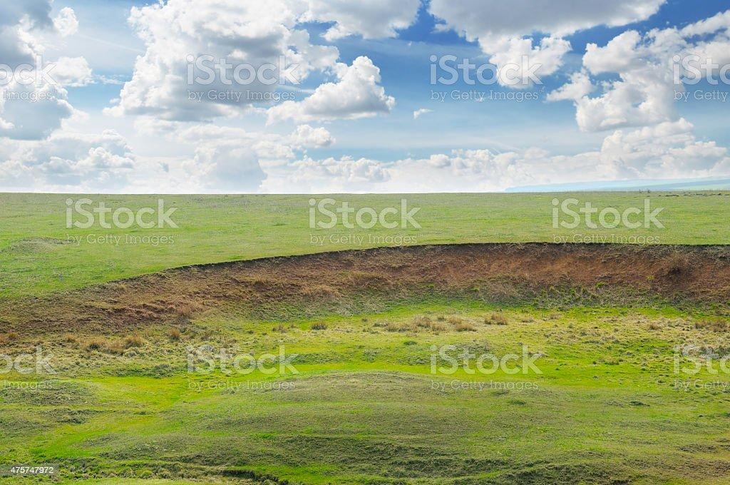landslide and soil erosion stock photo
