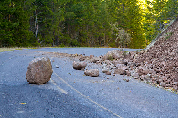 Landslide Blocked Road stock photo