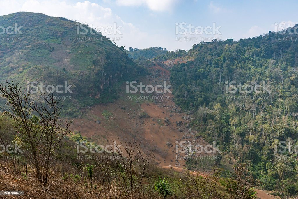 Landslide from the  top of the high moutain. stock photo