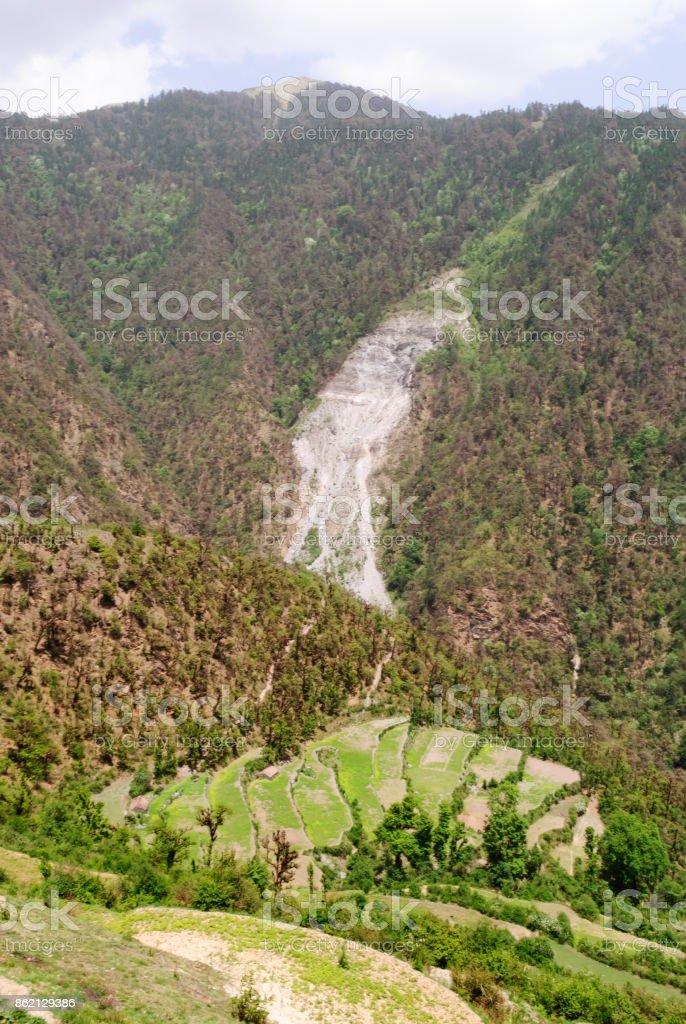 Landslide in Himalayan foothills stock photo