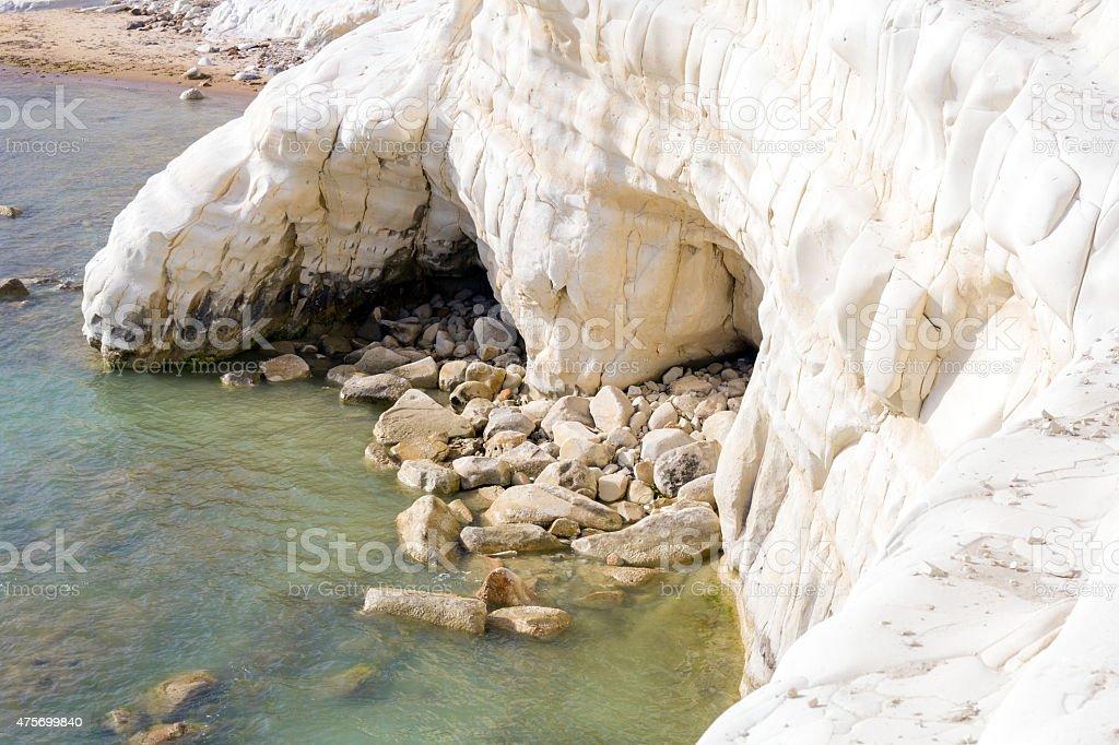 Landslide in the sea stock photo