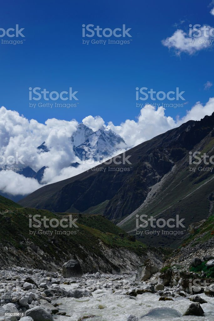 Landslide River, Everest Base Camp Trek From Dingboche to Lobuche , Nepal stock photo