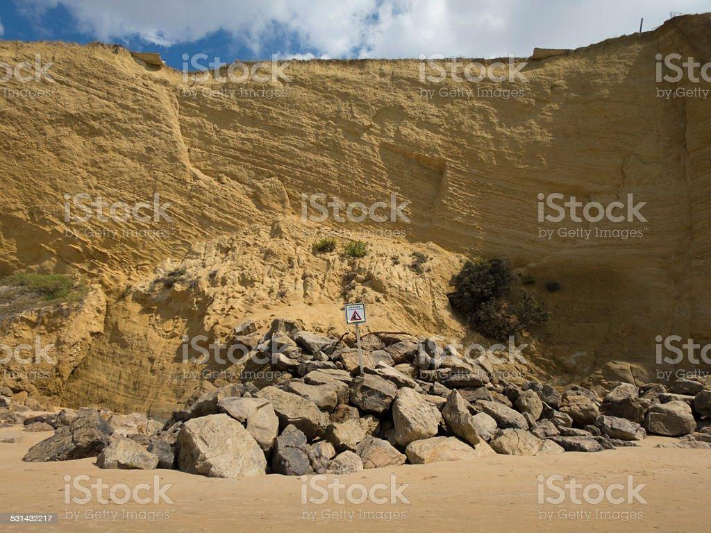 landslides hazard signal stock photo