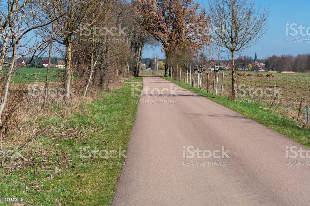 Landstraße zwischen zwei Dörfern stock photo