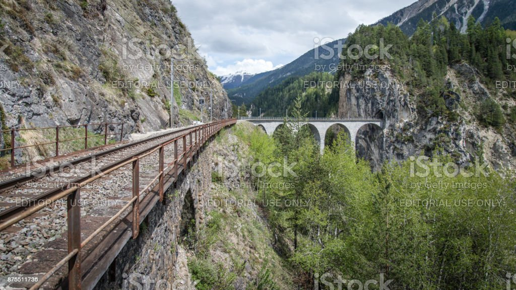 Landwasser Viaduct railroad bridge, Switzerland stock photo