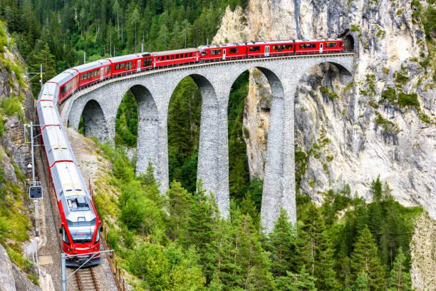 Landwater Viaduct in Filisur, Switzerland stock photo