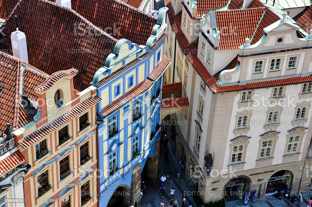 Lane among historic houses in Prague's Old Town, Czech Republic stock photo