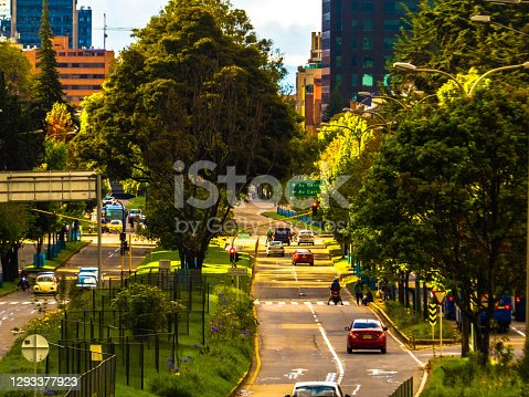 2 lane street and buldings in Bogota - Colombia