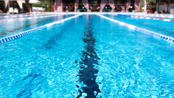 Lane swimming pool. Closeup of the row of lanes in the swimming pool stock photo