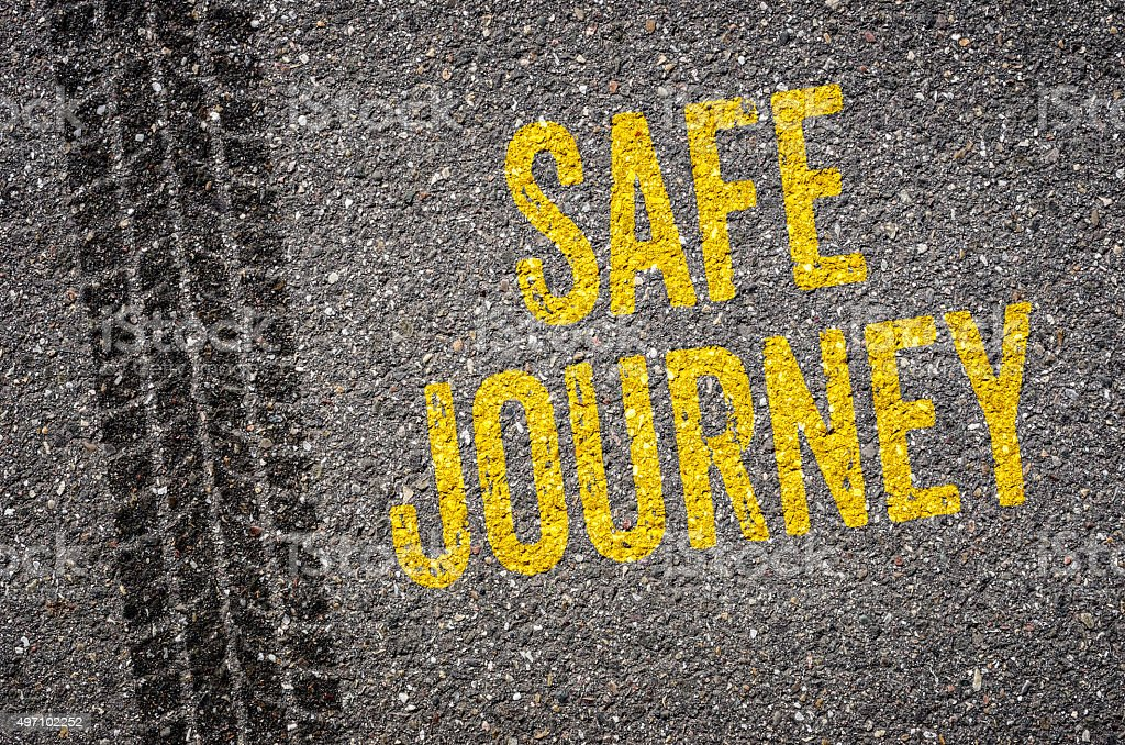Lane with the text Safe journey stock photo