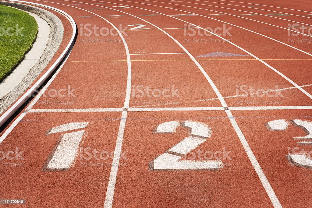 Lanes in Running Track Hz royalty-free stock photo