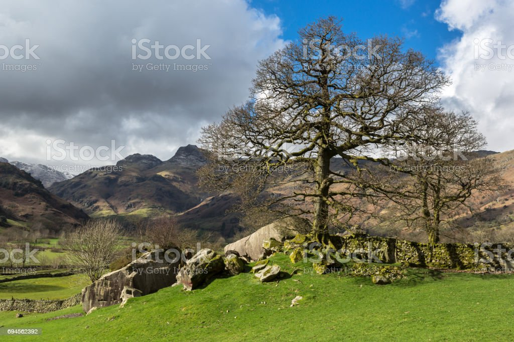 Langdale Boulders and Valley stock photo