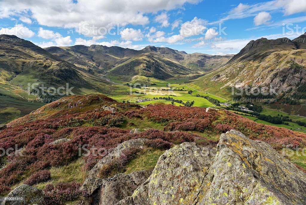 Langdale from Side Pike summit stock photo