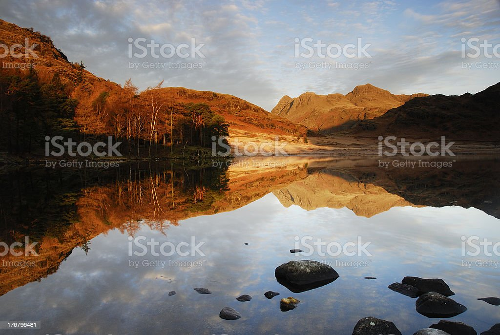 Langdale Pikes and Blea Tarn in the English Lake District stock photo