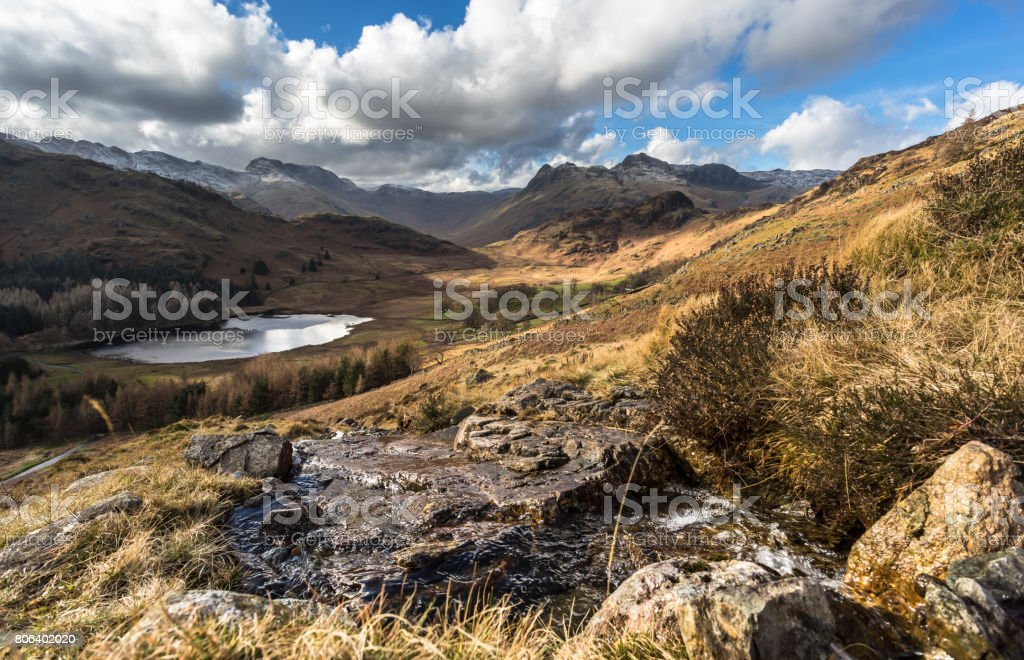 Langdale Pikes and Blea Tarn stock photo