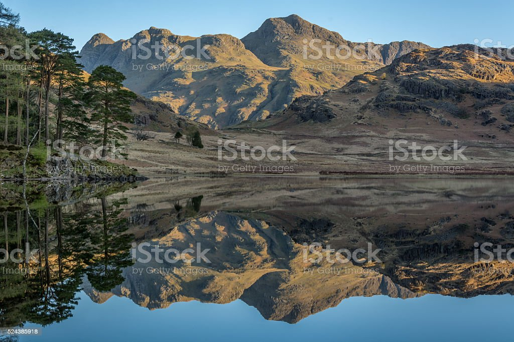 Langdale Pikes Bathed In Golden Light. stock photo